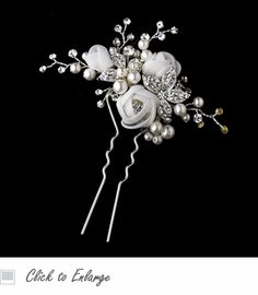Organza Rose Floral Bridal Hair Pin - White or Ivory