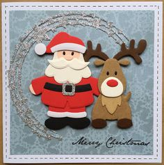 Kerst 2015 - Santa Christmas Wood Crafts, Decoration Christmas, Diy Christmas Cards, Handmade Christmas, Christmas Tree, Xmas Cards To Make, Stained Glass Patterns Free, Marianne Design Cards, Santa And Reindeer