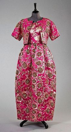 A Balenciaga couture shocking pink and gold brocade evening gown and bolero jacket, Spring-Summer, 1964