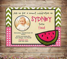 Watermelon Birthday Invitation Photo Card  by ConfettiColoredDay, $13.00