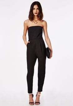 Add a touch of sophistication to your party wear with this chic tailored jumpsuit. The simple cut piece features a bandeau top with darting for…