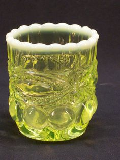 Vintage L.G. Wright Uranium Vaseline Glass Eyewinker Toothpick Holder Opalescent  , $19.99