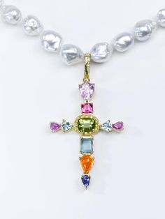 View this item and discover similar for sale at - An original design pendant by Susan Lister Locke. The 'Summer Cross' has Peridot, Pink Spinel, two Trillian Aquamarines, two Ring Necklace, Pendant Necklace, Religious Cross, Stone Gold, Aqua Marine, Crucifix, Cross Pendant, Crosses, Peridot