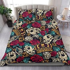 Are you looking for unique bedding sets for adults? We got you covered. All of our bedding sets have unique designs such as gothic bedding sets, skull bedding sets and more. Our bedding sets are super-soft, comfortable, and perfect for any season. Each bedding set comes with a duvet cover and 2 pillow covers. Blue Bedding Sets, Queen Bedding Sets, Gothic Bed, Pillow Inserts, Bed Sheets, Unique Bedding, Comforters, Pillow Covers, Pillows