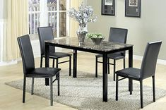 5 Piece Metal Dinette Set with Laminated Faux Marble Top, Black, The Transitional Feel of This Handsome Dining Set Comes From the Richly Hued Faux Marble Table Top and the Minimalist Design Kitchen Dining Sets, 5 Piece Dining Set, Dining Room Sets, Dining Room Furniture, Dining Table, Small Dining, Metal Furniture, Room Chairs, Dinette Sets