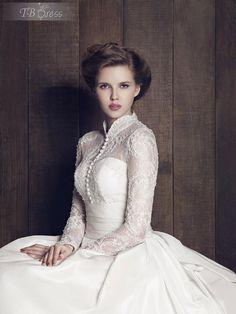 Classical A-Line High Neck Long Sleeves Custom Made Wedding Dress : Tbdress.com