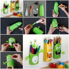 Monster pencil holders using shampoo bottles diy diy ideas diy crafts do it yourself kids crafts monsters pencil holders Kids Crafts, Craft Projects, Arts And Crafts, Craft Ideas, Ideas Fáciles, Ideas Para, Project Ideas, Decorating Ideas, Shampoo Bottles