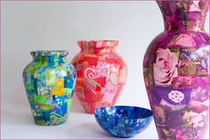 Decoupage vases. I've done this with uniquely shaped bottles. Plus it's a great craft to do with the kids.