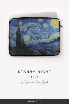 """Starry Night"" by Vincent Van Gogh Vincent Van Gogh, 7 And 7, Back To Black, Laptop Sleeves, Snug, Night, Fabric, Artwork, Tejido"