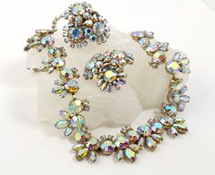 Sherman Rhinestone Necklace & Earrings // 1950s to by RefinedRetro