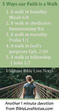 """This 1-minute devotion encourages us to """"Walk the Walk"""" of faith in Christ. Read more about these 5 """"steps."""""""
