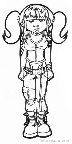 Zeichnung von einem Gothik Mädchen