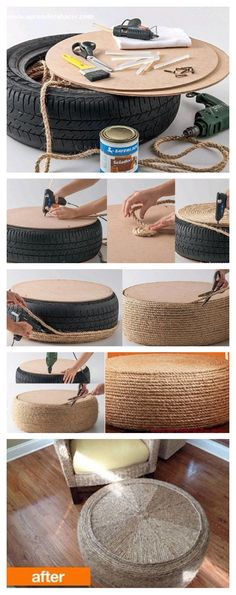 Reciclado con neumáticos Diy Furniture Building, Tire Furniture, Tyres Recycle, Diy Recycle, Backyard Projects, Home Projects, Stool Cover Crochet, Decor Crafts, Diy And Crafts