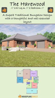 Hall Bathroom, Open Plan, House Plans, Floor Plans, Cottage, Layout, Exterior, Traditional, Bungalow Designs