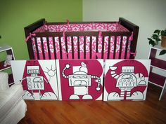 I think a robot themed nursery would be so adorable, and I'm kinda in love with this one for a girl!