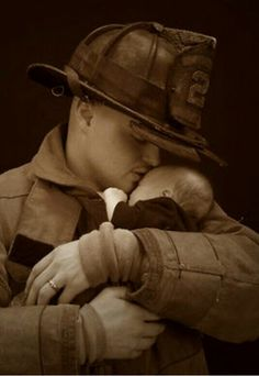 Firefighter Dad Showing Some Baby Love