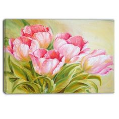 DesignArt Bunch of Tulips Oil Painting Floral Painting Print on Wrapped Canvas Size: