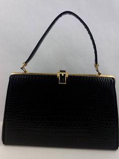 06342701d4fc VIntage 1950 s - 1960 s Black Faux Crocodile Kelly Bag Mad Men Handbag  Rockabilly Pocketbook Vegan Friendly in very good vintage condition