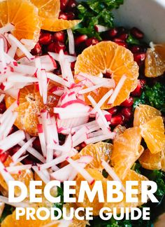 An illustrated guide to December seasonal produce in the United States. Find helpful preparation tips and recipes for ripe fruits and vegetables! via Cookie + Kate