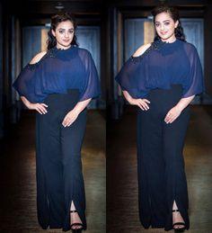 Nitya Menon's look. Read more http://fashionpro.me/nitya-menon-looks-ravishing-ridhi-mehra-jumpsuit
