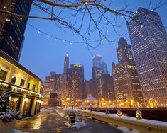 Chicago River Walk with a light snow dusting and some twinkling lights - nothing beats it.