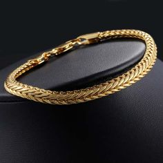 Gold Chain Men Gifts New Arrival Braided Foxtail Unisex Chain Yellow Gold Filled Bracelet Gift Size: 6 mm_approx. Gold Chain Design, Gold Bangles Design, Gold Earrings Designs, Gold Jewellery Design, Bracelet Designs, Gold Jewelry, Diamond Jewellery, Mens Gold Bracelets, Fashion Bracelets