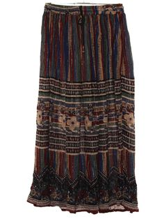 ca998255534 Vintage 90s Hippie Skirt  90s or newer -Care Label- Womens brick red  background