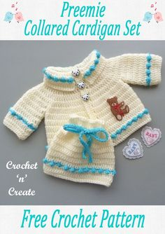 Free baby crochet pattern for preemie collared cardigan set on crochetncreate. #freebabycrochetpattern. Baby Patterns, Crochet Patterns, Baby Sweaters, Crochet Sweaters, Premature Baby, All Free Crochet, Bobble Stitch, Baby Hats Knitting, Crochet Baby Clothes