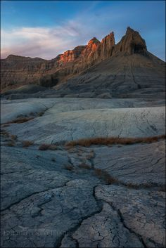 Sunset light on butte in the Glen Canyon National Recreation Area, Utah
