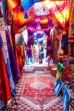rainbow of hanging fabric in india