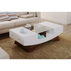 Furniture Of America Shandy Two Tone Glass Top Coffee Table White & Walnut - table - Design Rattan Furniture Coffee And End Tables, Sofa End Tables, Glass Top Coffee Table, Coffee Table Design, Modern Coffee Tables, Centre Table Design, Center Table Living Room, Muebles Living, Contemporary Coffee Table