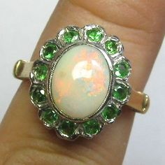 Laura's lifeintheknife on Ruby Lane: Vintage Retro 14K Gold Opal & Emerald Dinner Ring