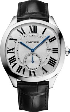 DRIVE DE CARTIER WATCH Steel, leather REF : Cartier's shaped watches have made their mark on history. Now, elegance is redefined with Drive de Cartier. Making a bold statement with its unique cushion-shaped case, the watch is brought to life by Audemars Piguet, Cartier Santos, Cartier Drive, Cartier Watches, Breitling, Men's Accessories, Best Mens Luxury Watches, Datejust Rolex, Beautiful Watches