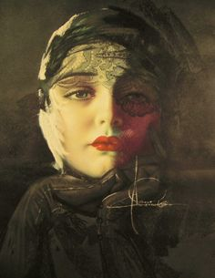 Art Nouveau Poster Art Deco Print Rolf Armstrong Dream Girl in Lace 17x22 Repro | eBay