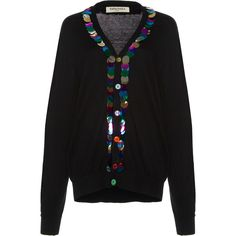 Tata Naka Beaded Paillette Cardigan ($785) ❤ liked on Polyvore featuring tops, cardigans, black, beaded top, tata naka, cardigan top, oversized cardigan and over sized cardigan