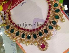 Jewellery Designs: Opulent Ruby Emerald Bridal Necklace