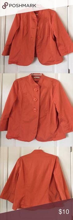 Coldwater Creek Orange Jacket size 16 Cute Orange Coldwater Creek jacket with oversized buttons. Size 16. Great condition! Coldwater Creek Jackets & Coats