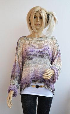Purple cream gray sweater loose knit Grunge by dosiak on Etsy