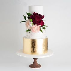 We can all agree that the wedding cake is clearly the belle of your reception and not to mention, the grand focus of your dessert bar. Elegant Wedding Cakes, Beautiful Wedding Cakes, Wedding Cake Designs, Beautiful Cakes, Bolo Floral, Burgundy Wedding Cake, Plum Wedding, Wedding Cake Alternatives, Happy Wedding Day