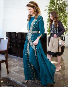 Very Game of Thrones! Has the Queen of Jordan been inspired by the hit television show's wardrobe with this stunning green number?