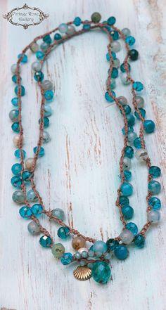 Aqua Blue Crochet Boho Chic Necklace, 6 Wrap Crocheted Bracelet, Summer Boho Necklace, Long Statement Necklace by VintageRoseGallery Geek Jewelry, Fall Jewelry, Boho Jewelry, Beaded Jewelry, Women Jewelry, Bullet Jewelry, Gothic Jewelry, Etsy Jewelry, Jewelry Bracelets
