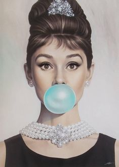 Van Eyck Audrey Hepburn Tiffany Blue Bubble Gum Canvas Poster Wall Art for Guest Bedroom Decor Kitchen Decoration Living Home inch unframed) Audrey Hepburn Wallpaper, Arte Audrey Hepburn, Audrey Hepburn Pictures, Aubrey Hepburn, Audrey Hepburn Painting, Audrey Hepburn Poster, Audrey Hepburn Breakfast At Tiffanys, Golden Age Of Hollywood, Hollywood Glamour
