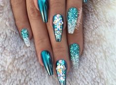 Ice Blue And Rose Gold Stilettos by MargaritasNailz