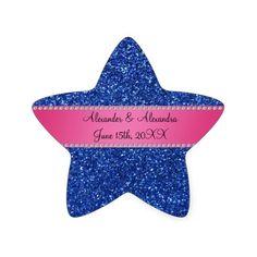 Blue glitter wedding favors star sticker
