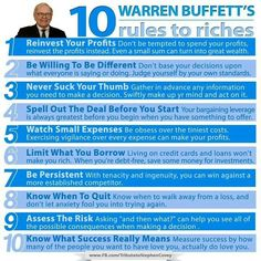 Warren buffets 10 rules to riches #success #riches