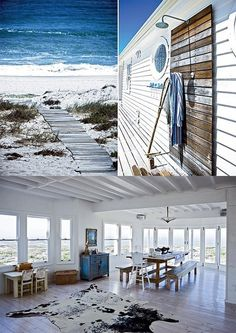 Not too much on the Cow rug in rustic beach theme... but love this house!