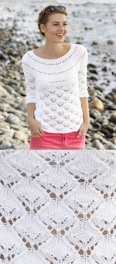 Sewing Blusas Free Knitting Pattern for a Lace Round Yoke Top - Free Knitting Pattern for a Lace Round Yoke Top. Skill Level: Intermediate Knitted top with lace pattern, round yoke and ¾ sleeves in cotton. Free Pattern More Patterns Like This! Free Knitting Patterns For Women, Lace Knitting Patterns, Knitting Designs, Sewing Patterns, Summer Knitting, Easy Knitting, Jumper Patterns, How To Purl Knit, Jumpers For Women
