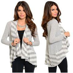 Alli Nicole Boutique - Gray Stripes Cardigan #cardigan #fall #fashion #stripes #dressup #clothing