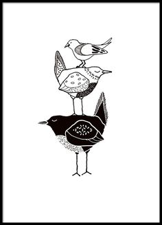 Poster / print with three graphic birds in black and white. This poster fits nicely together . Desenio Posters, Bird Doodle, Black And White Birds, Black And White Drawing, Bird Poster, White Picture Frames, Bird Drawings, Letter Art, Art Plastique