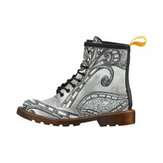 Space Flower shoes Leather Martin Boots For Women Model 402H.An original design created by Kewzoo using paint ink and pencil.